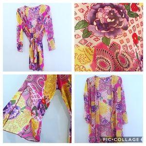 60's hippie vibes split bell sleeves kimono